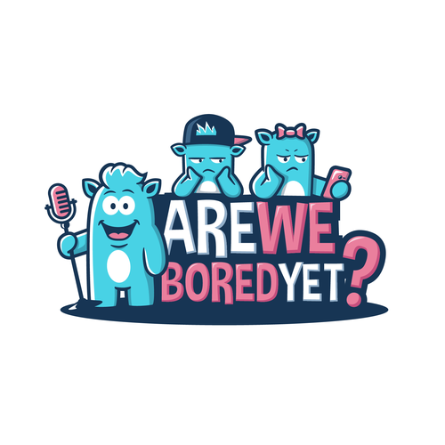 Podcast logo with the title 'Are We Bored Yet? Logo'