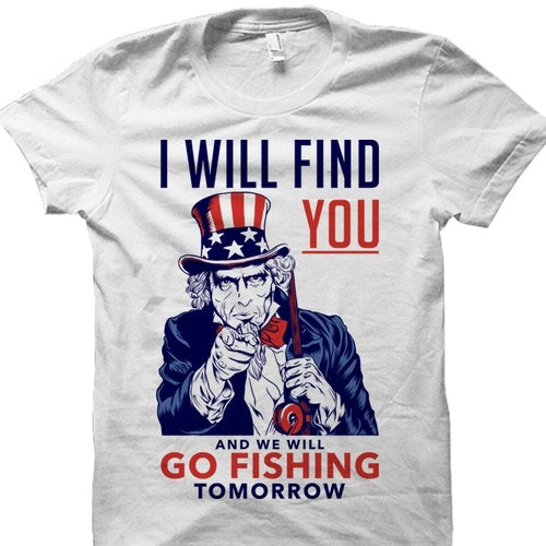 American t-shirt with the title 'Funny fishing tshirt design.'