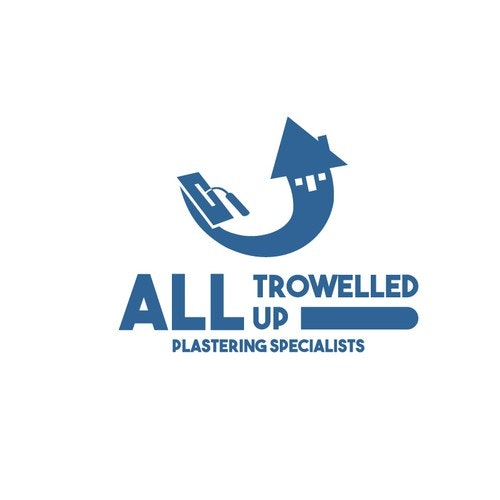 Swoosh logo with the title 'All trowelled up logo for a plastering/painting company'