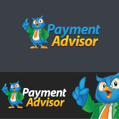 Blue logo with the title 'Logo + Character Logo  Design for Payment Advisor'