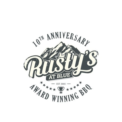 BBQ logo with the title 'Rusty's logo re-design'