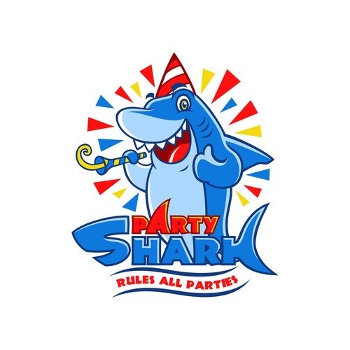 Shark logo with the title 'PartyShark needs a new logo'