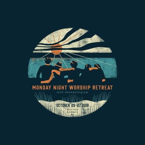 Distressed t-shirt with the title 'Monday Night Worship Retreat'