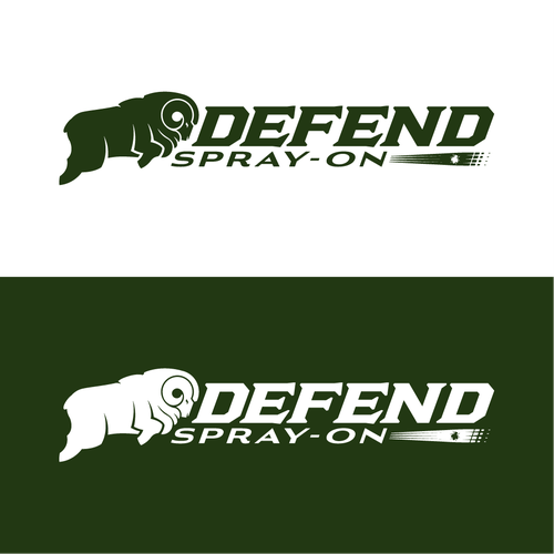 Ram logo with the title 'Defend Spray-On Logo Design'