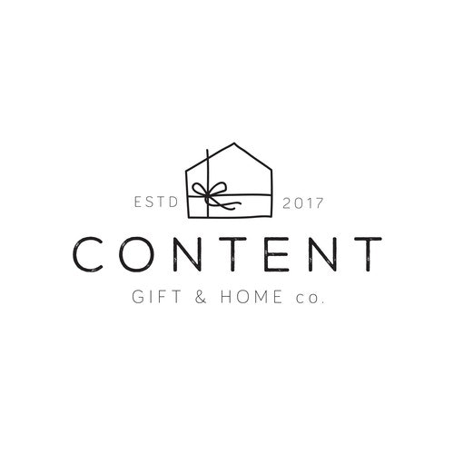 Gift logo with the title 'A handdrawn gift house for a shop selling home goods and gifts'