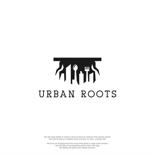 Spoon logo with the title 'Major Re-branding: Urban Roots'