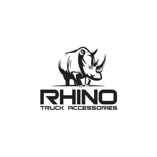 Rhino logo with the title 'Pick up truck accessories company represented by simple and strong rhino logo.'