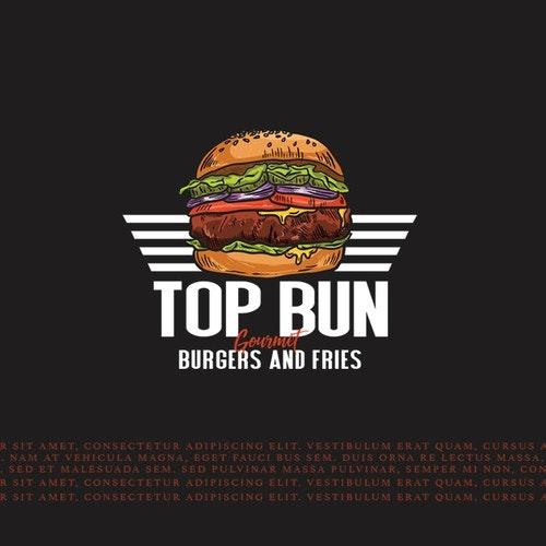 Gourmet logo with the title 'top bun burger'
