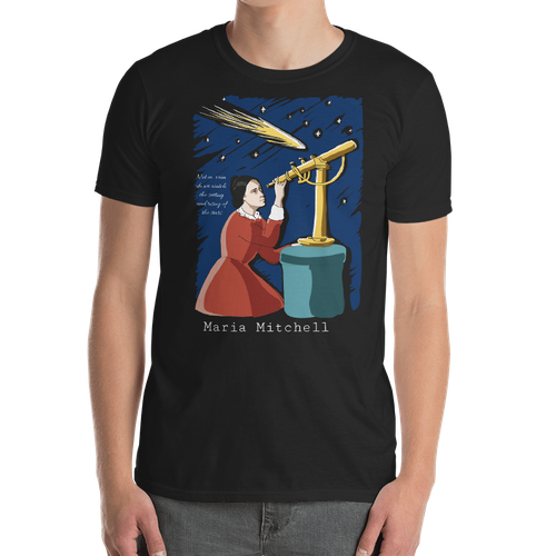 Sky t-shirt with the title 'Design for a t-shirt featuring a woman of science'