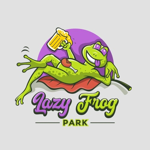 Cozy logo with the title 'Lazy Frog Park'
