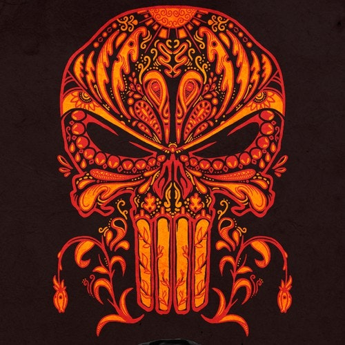 Mexican t-shirt with the title 'Sugar Skull Fire Red'
