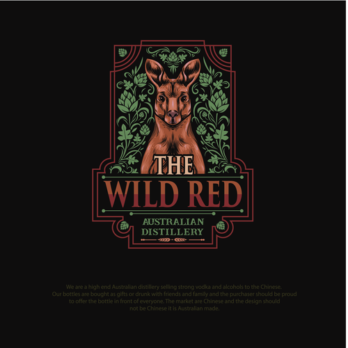 Vodka logo with the title 'Illustrated logo concept for The Wild Red'