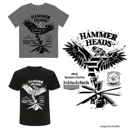 American flag t-shirt with the title 'hammerheads concept design'