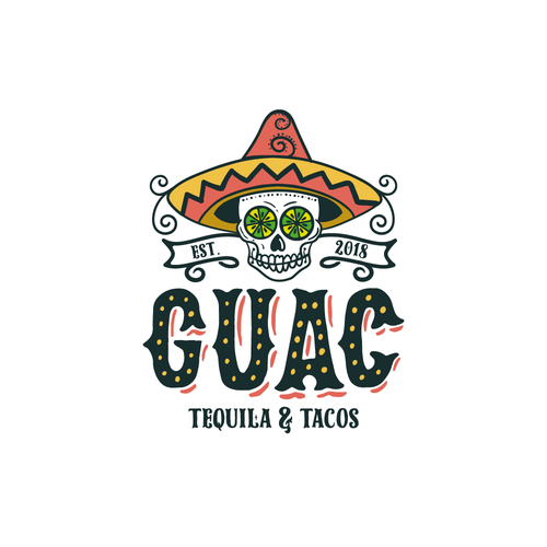 Taco logo with the title 'Mexican Skull'