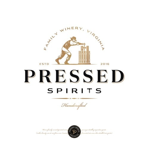 Mascot logo with the title 'Pressed Spirits distilling co'