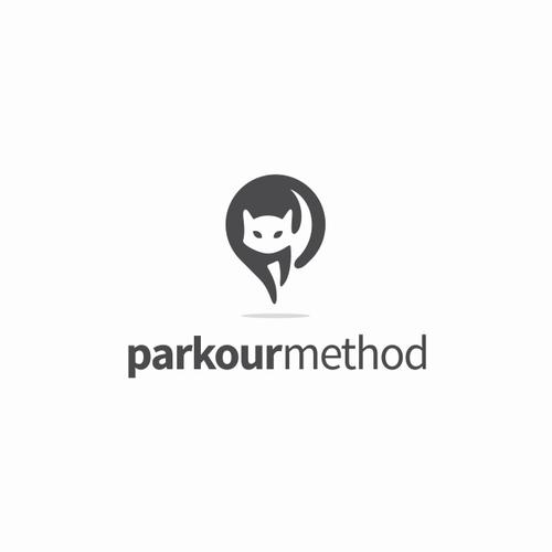Negative space logo with the title 'parkourmethod Logo Design Proposal'