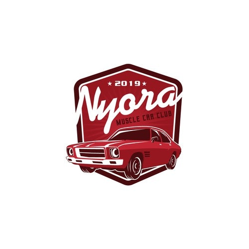 Muscle car logo with the title 'Nyora muscle car club'