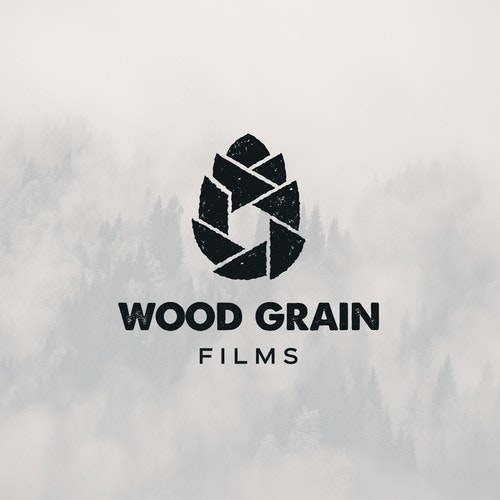 Film logo with the title 'Wood Grain Films'