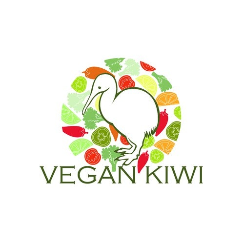 Kiwi logo with the title 'Vegan Kiwi Logo'