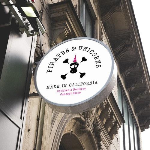 Bone logo with the title 'Logo design for Pirates & Unicorns'
