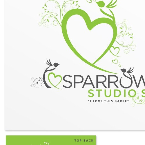 Bird t-shirt with the title 'Sparrow Studios (Yoga & Barre Studio) wants your funky ideas for our new Ts!'