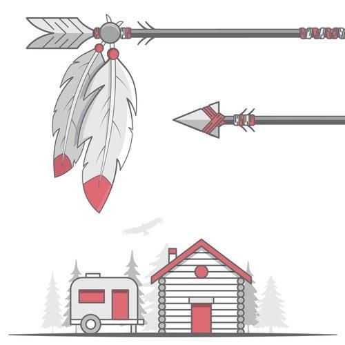 Resort logo with the title 'Little Arrow Outdoor Resort'