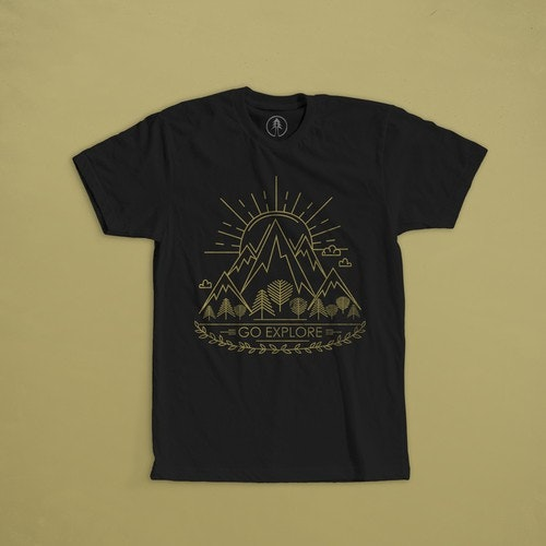 "Forest t-shirt with the title 'Print for t-shirt  for company Fara Kanna, means ""Go Explore"" in an old norse language.'"