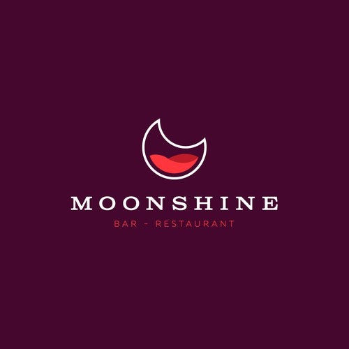 Bar logo with the title 'Logo concept for Moonshine bar.'