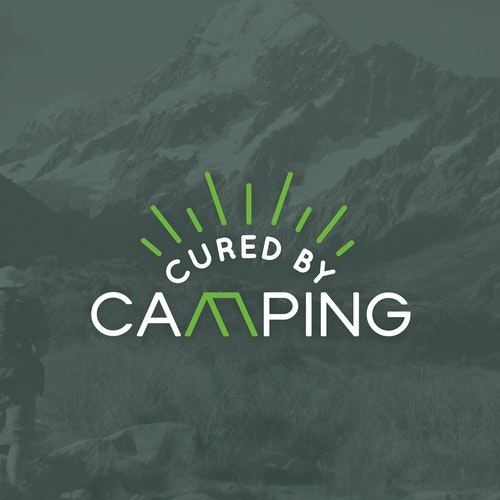 Tent logo with the title 'Logo for Cured by Camping'