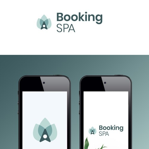 Booking logo with the title 'Logo concept for a Booking Spa app'