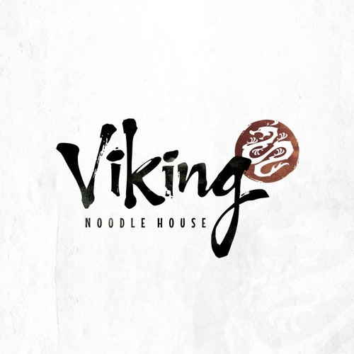 Brush stroke logo with the title 'Create a Asian fusion logo for a Viking Chefs noodle house.'
