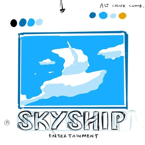 Ship logo with the title 'Concept Design for Skyship logos'