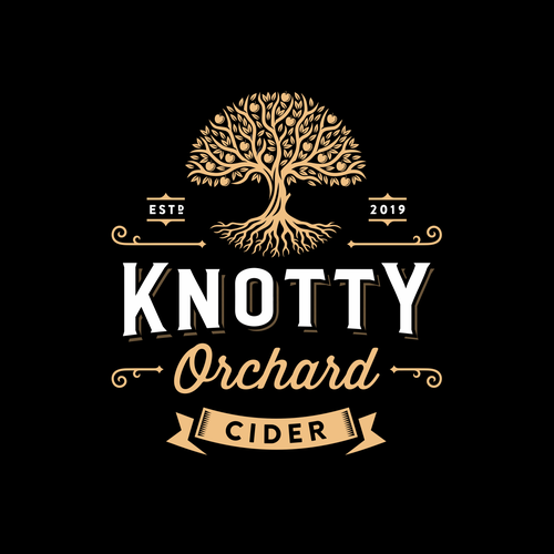 Fruit logo with the title 'Knotty Orchard Cider'