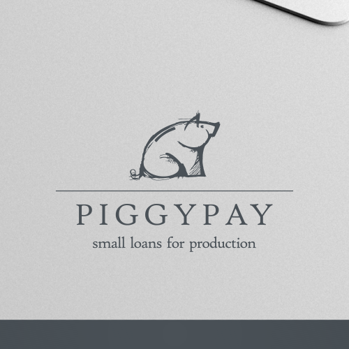 Pig logo with the title 'logo for a mini bank'
