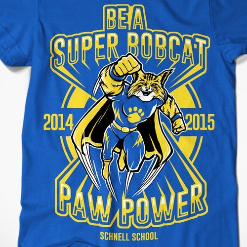 Bold t-shirt with the title 'Schnell School Bobcats 2014/2015 T-Shirt Design'