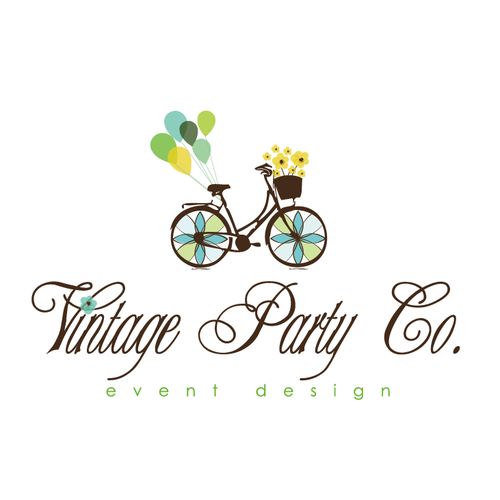 Whimsical logo with the title 'whimsical bike - baloon flowers'