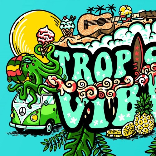 Bar t-shirt with the title 'Tropical Vibes'