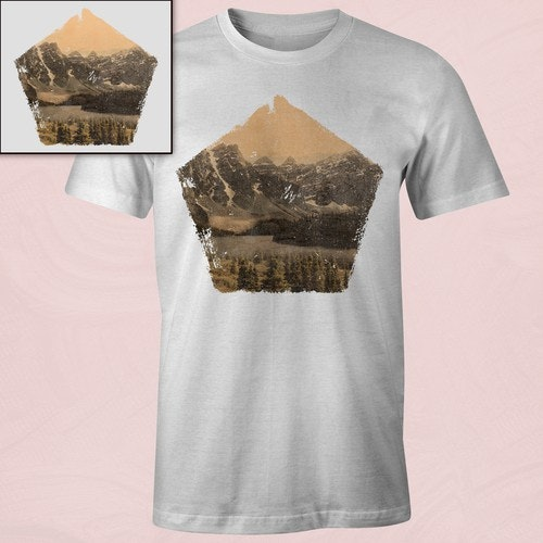 Photography t-shirt with the title 'Photo-Realistic Vintage Mountain T-Shirt'