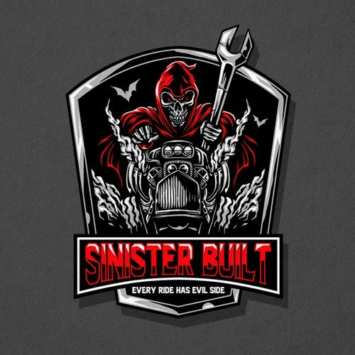 Devil logo with the title 'sinister build'