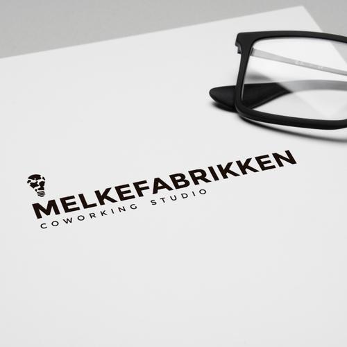 Coworking logo with the title 'Melkefabrikken coworking studio'