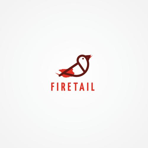 Pen logo with the title 'minimal firetail bird logo for fashion company'