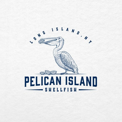 Pelican logo with the title 'Pelican Island Shellfish'