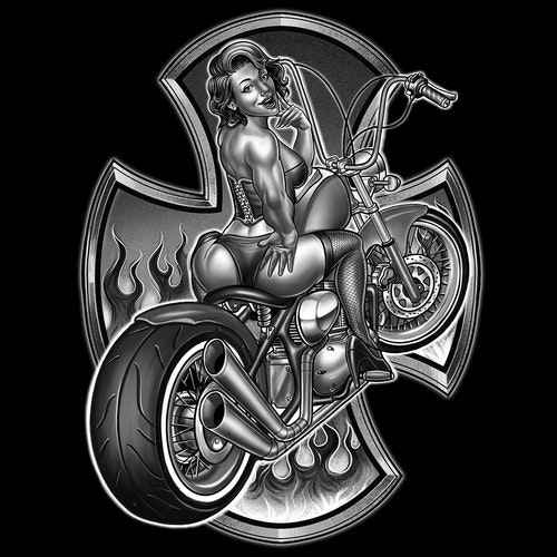 Automotive t-shirt with the title '60's sexy biker'
