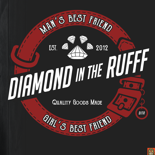 Dog t-shirt with the title 't-shirt design for diamond in the RUFF'