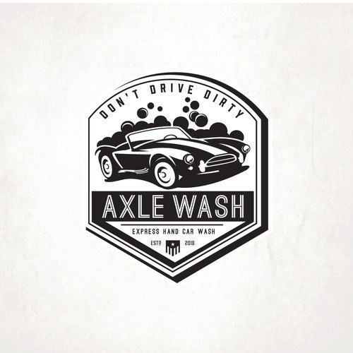 Black and white t-shirt with the title 'Axle Wash'