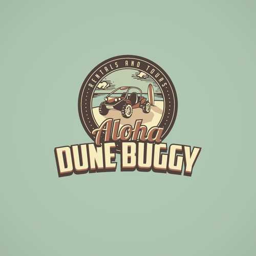 Rental logo with the title 'Aloha Dune Buggy Needs You - Push The Envelope'
