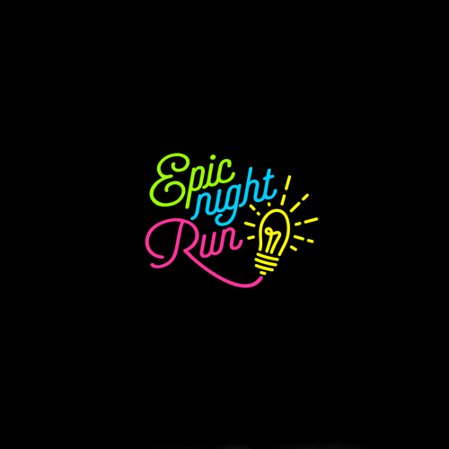 Running logo with the title 'typography logo for epick night run'