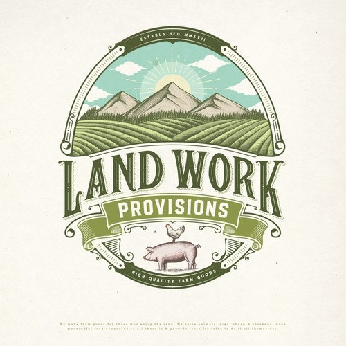 Chicken logo with the title 'LAND WORK PROVISIONS LOGO PROPOSAL'