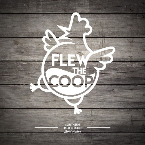 Chicken logo with the title 'Flew the Coop Logo'