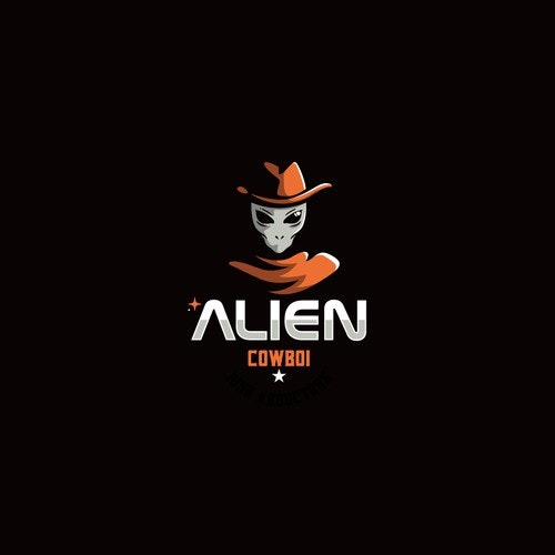 Sci-fi logo with the title 'Alien Cowboy'